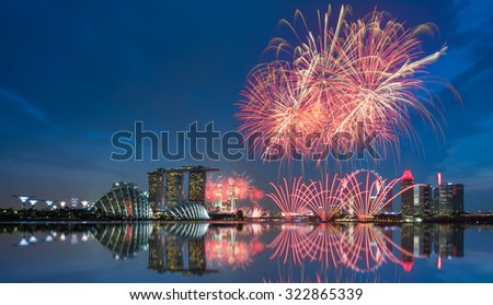 SINGAPORE-AUGUST 9 :  Singapore National Day firework celebrate Singapore 50 years on August 9, 2015 at Marina Bay.
