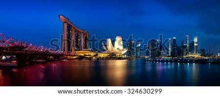 SINGAPORE - AUGUST 23: The Marina Bay Sands Resort standing majestically at the mouth of the Singapore River on August 23, 2015 in Singapore. This waterfront resort is a place of attraction. - stock photo