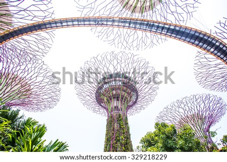 singapore august 31 2015 the supertree at gardens by the bay this