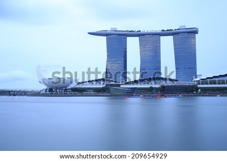 SINGAPORE - AUGUST 5, View of Marina Bay with Marina Bay Sand towers and Art Science Museum on August 5, 2014 in Singapore.