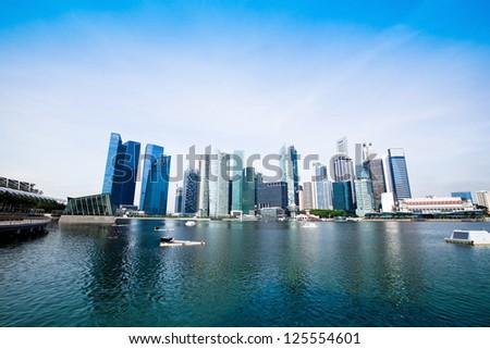Singapore business district - stock photo