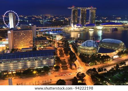 Singapore by night - stock photo