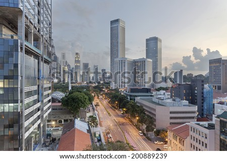 Singapore Central Business District City Skyline from Beach Road at Dusk