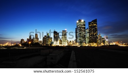 Singapore Central Business District view from Marina Place - stock photo