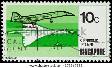 SINGAPORE - CIRCA 1978: A stamp printed in Singapore shows Aircraft Concorde, circa 1978 - stock photo