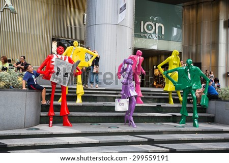 SINGAPORE - CIRCA FEBRUARY, 2015: The sculpture at the mall ION Orchard - one the best shopping centers on Orchard Road. In the mall more than 300 shops of the famous brands. - stock photo