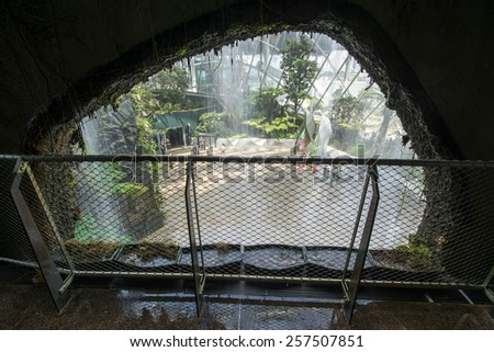 SINGAPORE - CIRCA JANUARY 2015: Cloud Forest Dome at Gardens by the Bay. Spanning 101 hectares of reclaimed land in central Singapore, adjacent to Marina Reservoir. - stock photo