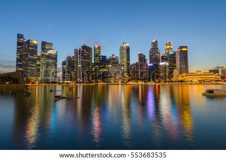 Singapore - circa January 2017 - Singapore city skyline in the night. Colourful light makes the city looks beautiful.
