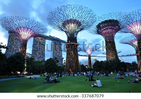 SINGAPORE - CIRCA JULY 2015: Night view of Supertree Grove at Gardens by the Bay circa July, 2015 in Singapore. Spanning 101 hectares of reclaimed land in central Singapore, adjacent to the Marina  - stock photo