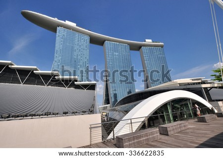 SINGAPORE - CIRCA JULY 2015: The Marina Bay Sands resort on a late evening circa July 2015 in Singapore. Marina Bay Sands in fifty-five storeys high and cost US$ 6.3 billion american dolars.