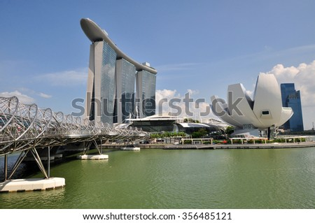 SINGAPORE - CIRCA JULY 2015: The Marina Bay Sands resort on a late evening circa July 2015 in Singapore. Marina Bay Sands in fifty-five storeys high and cost US$ 6.3 billion american dolars.  - stock photo