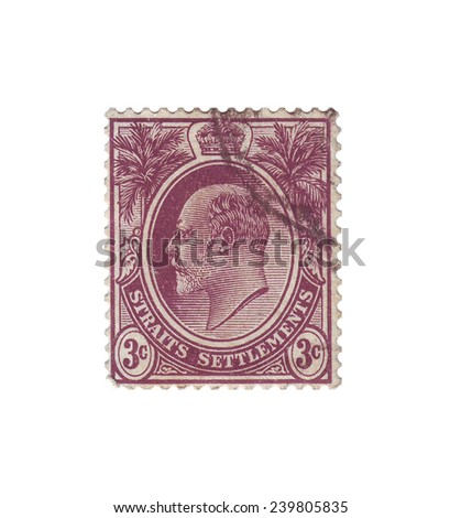 SINGAPORE - CIRCA 1904: Postage stamp with a picture king of Great Britain Edward VII, circa 1904 - stock photo