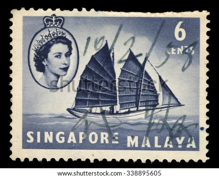 SINGAPORE - CIRCA 1958: This stamp printed in Singapore with image of a sailing boat, circa 1958  - stock photo