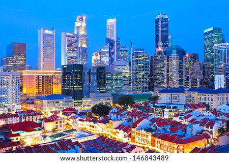 Singapore city downtown at night - stock photo