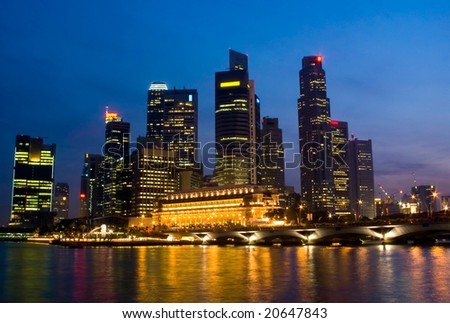 Singapore City Evening Skyline of Business District