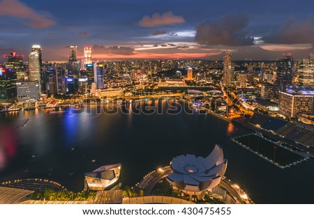 Singapore city in sunset time,View from Sands Sky Park.