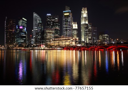 Singapore city night view with reflection - stock photo