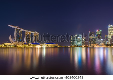 SINGAPORE CITY, SINGAPORE - FEBRUARY 10, 2017:  View Of Marina Bay sands at sunrise. Travel, Singapore on FEBRYARY 10, 2017