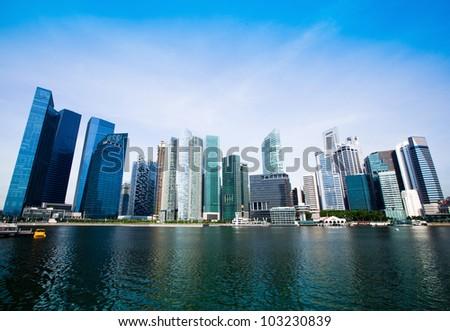 Singapore city skyline. - stock photo