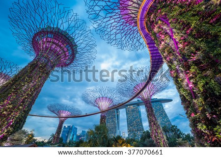 Singapore city skyline - stock photo