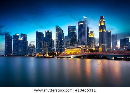 Singapore city skyline at dusk, Marina bay skyline, Singapore city skyline, Singapore.