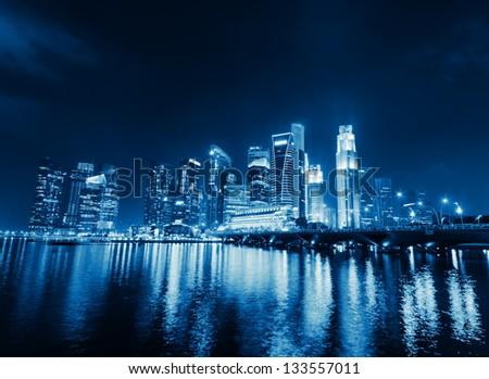 Singapore city skyline at night. - stock photo