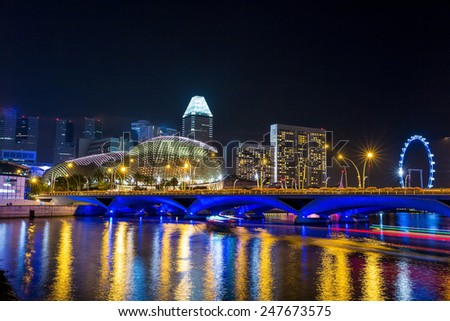Singapore city skyline at night - stock photo
