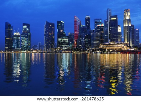 Singapore city skyline at night. - stock photo