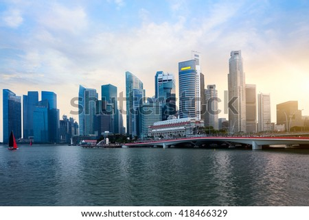 Singapore city skyline at sunset, Singapore city skyline Marina bay skyline, Singapore city