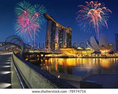 Singapore city skyline , celebration - stock photo