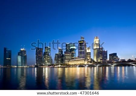 Singapore City skyline Feb 2010. - stock photo
