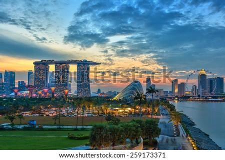 Singapore city skyline view at Marina Bay - stock photo