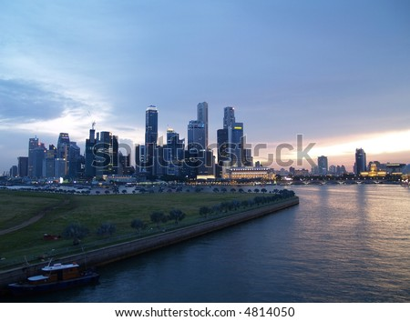 Singapore City Sunset Skyline