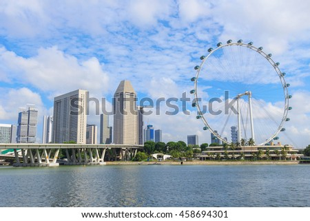 Singapore cityscape againt cloud and blue sky background