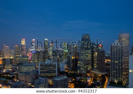 Singapore Cityscape at Blue Hour Aerial View