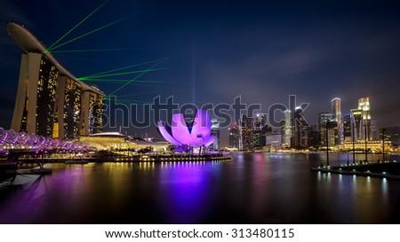 Singapore cityscape at night - stock photo