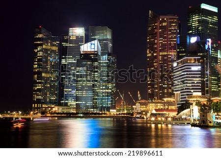Singapore cityscape at night  with reflect