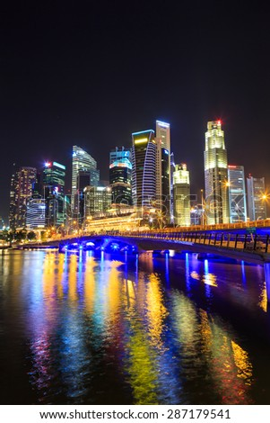 Singapore cityscape at night  with reflect , Singapore -17January 2015