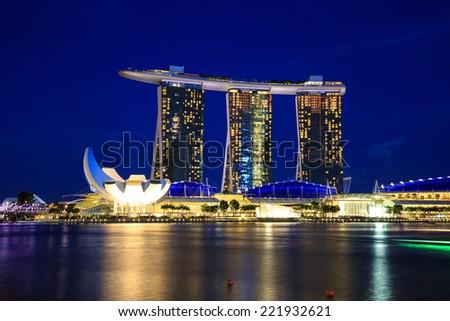 Singapore cityscape at night  with reflect , Singapore - 13 September  2014 - stock photo