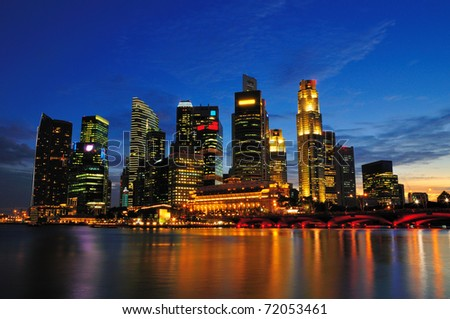 Singapore cityscape at sunset - a view of the financial business district.