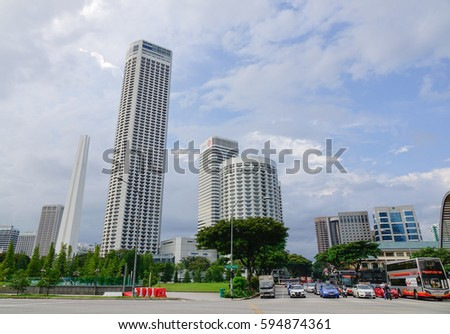 Singapore - Dec 14, 2015. Cityscape of business district in Singapore. Singapore is third-largest foreign exchange market, third-largest financial centre.