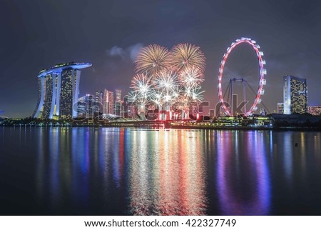 SINGAPORE-Dec 31 : Firework in Singapore for New Year Celebration on December 31, 2015 at Marina Bay Sand.