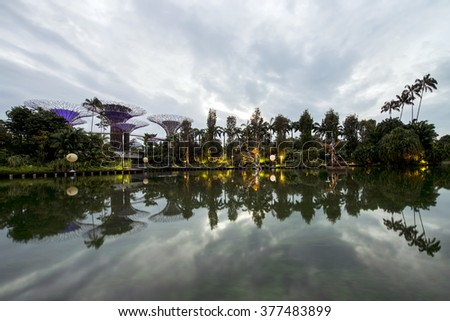 "SINGAPORE - DEC,31 2015: Morning view of Gardens by the Bay. A Singapore government strategy to transform Singapore from a ""Garden City""  to a ""City in a Garden"". - stock photo"