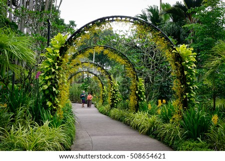 Singapore - Dec 15, 2015. People visiting the Singapore Botanic Gardens in Singapore. Opened in 1859, the gardens now cover 74 hectares.