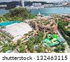 SINGAPORE - DECEMBER 28: aerial view of entertainment complex on December 28, 2012 in Sentosa, Singapore. Sentosa is popular island resort in Singapore with more than 5 mln visitors per year. - stock photo