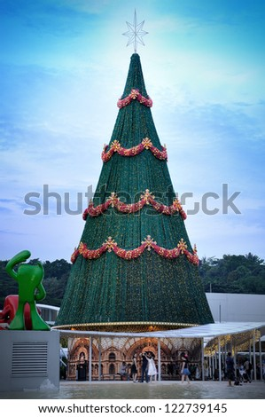 SINGAPORE - DECEMBER 9: Christmas Decoration at VivoCity shopping mall on December 9, 2012 in Singapore. The nearest MRT station is HarbourFront MRT station (no. 6 NE1). - stock photo