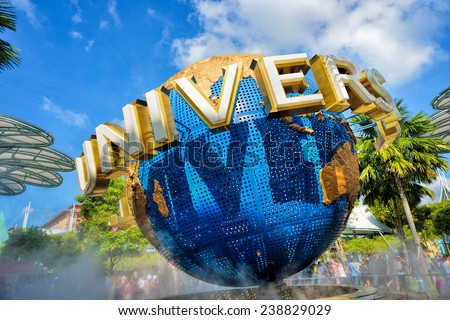 SINGAPORE - DECEMBER 13: Daytime of rotating globe fountain in Universal Studios on December 13, 2014 at Singapore Resorts World Sentosa.  - stock photo
