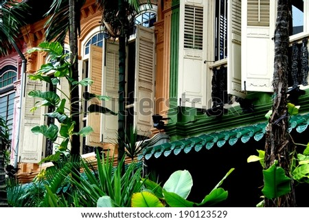 SINGAPORE - December 16, 2007:   Lush tropical foliage and handsome restored Peranakan former shop houses with wooden louvered shutters on Emerald Hill - stock photo