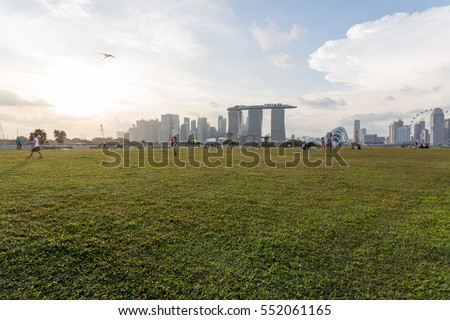 SINGAPORE - DECEMBER 13: Marina barrage and Marina bay at evening time on 13 December 2016 in Singapore