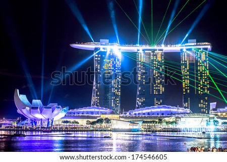 SINGAPORE - DECEMBER 15 2013: The Marina Bay Sands Resort Hotel in Singapore displaying a light show at night. - stock photo